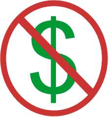 The international symbol for 'No Dollars'.